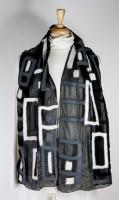 Windhorse Wool & Silk Scarf - Black & White Rectangle